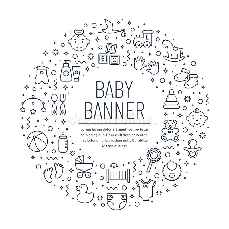 Baby banner with line icons. Vector background vector illustration