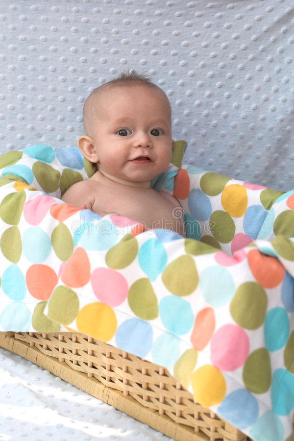 Download Baby in Basket stock photo. Image of orange, happiness - 1260936
