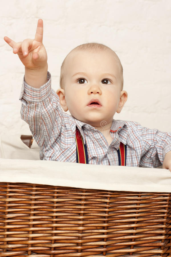 Download Baby in a basket stock image. Image of face, basket, cute - 13289827