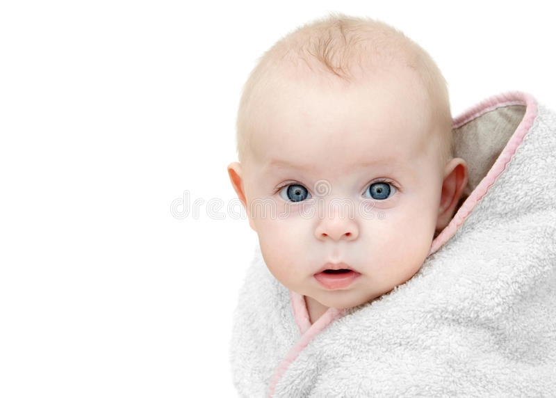 Download Baby after bath. stock photo. Image of goggling, close - 12998928