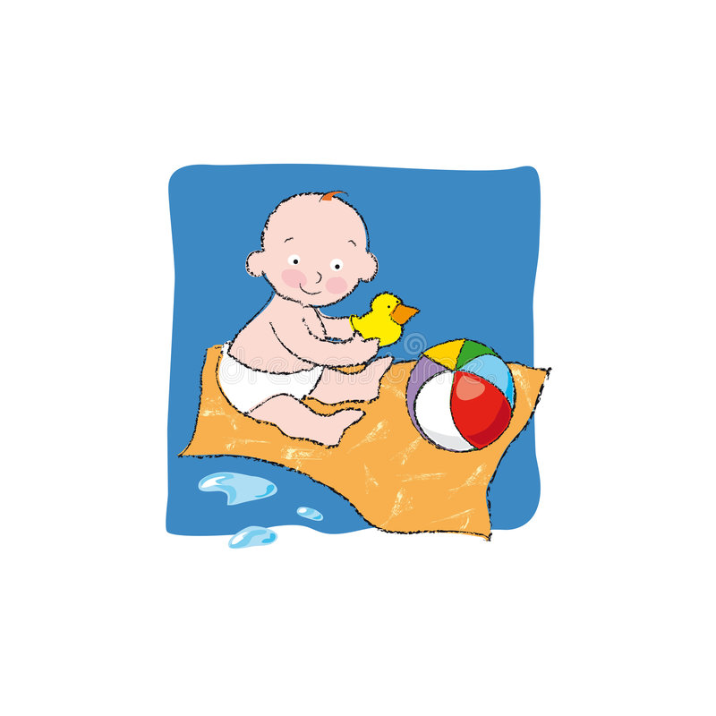 Baby after bath. A little baby is playing with his toys after bathing. Vector illustration. You can find other 4 scenes on my portfolio: Baby bathing, Baby
