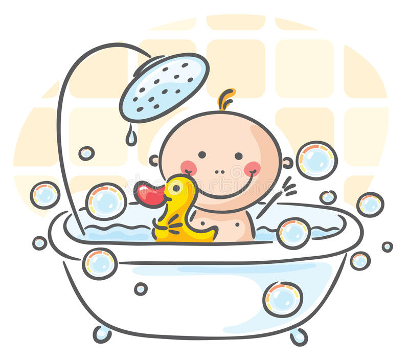 Baby in the bath. Tub stock illustration