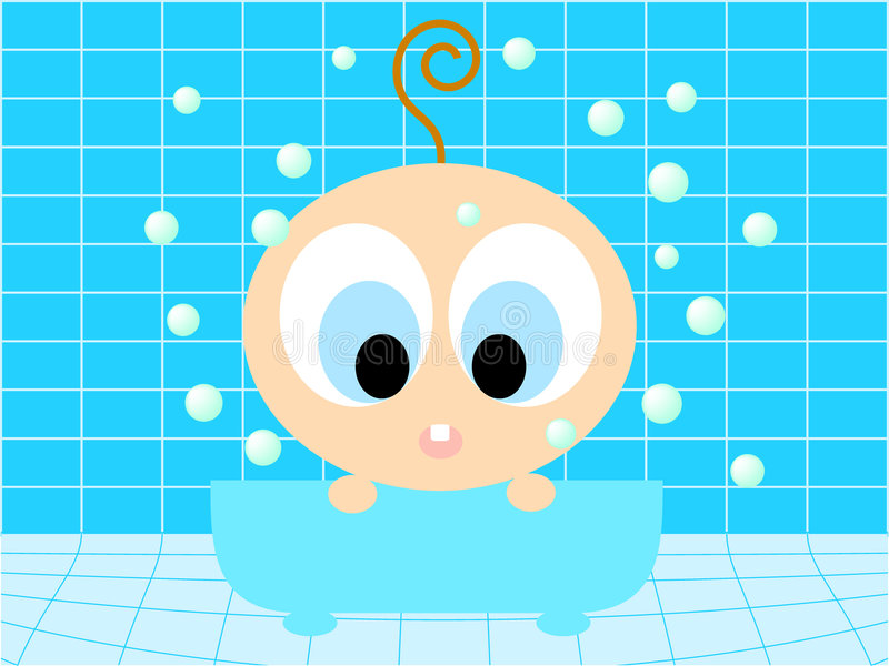 Baby in the bathtub stock photography