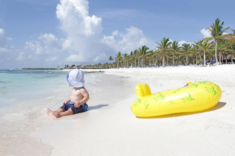 Download Baby on Beach stock photo. Image of palmtree, sunscreen - 16990726