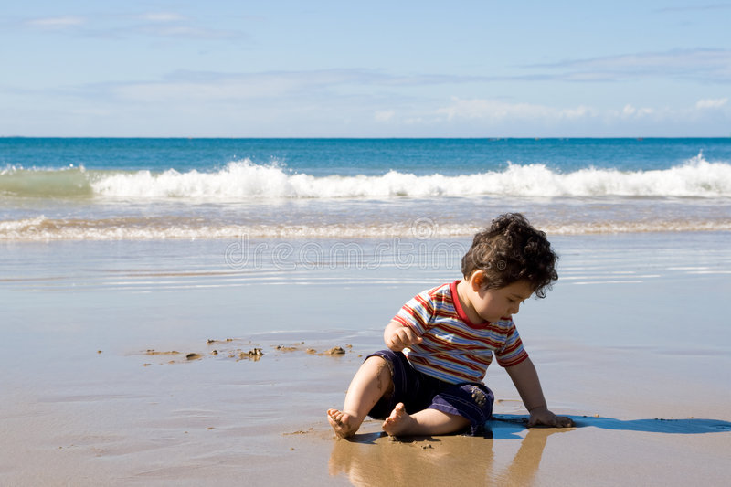 Download Baby on beach stock photo. Image of cute, jolly, adorable - 9163388