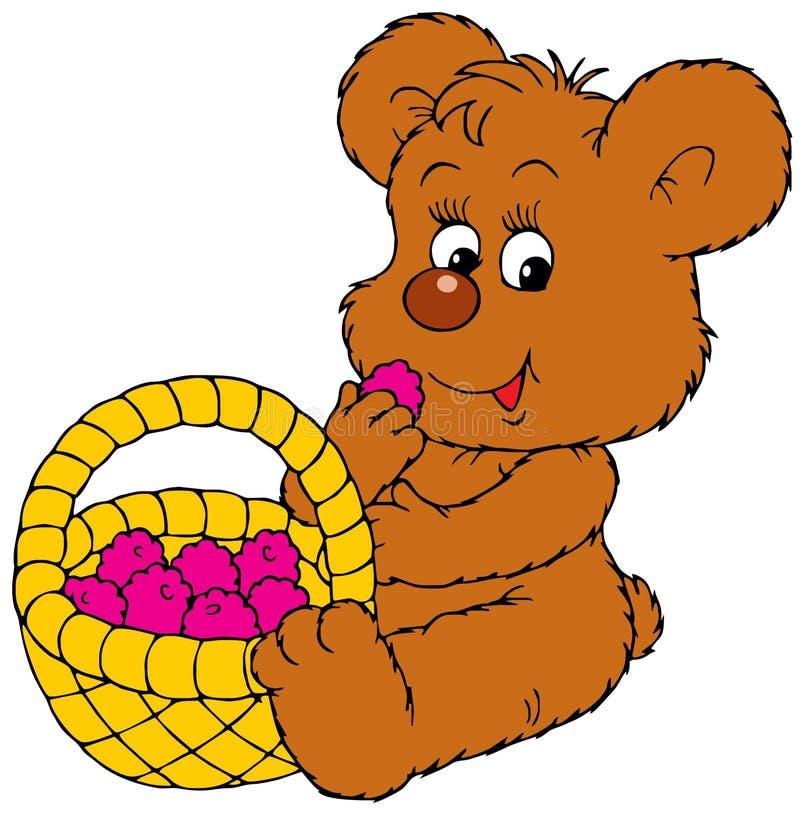 Baby bear eating berries royalty free illustration
