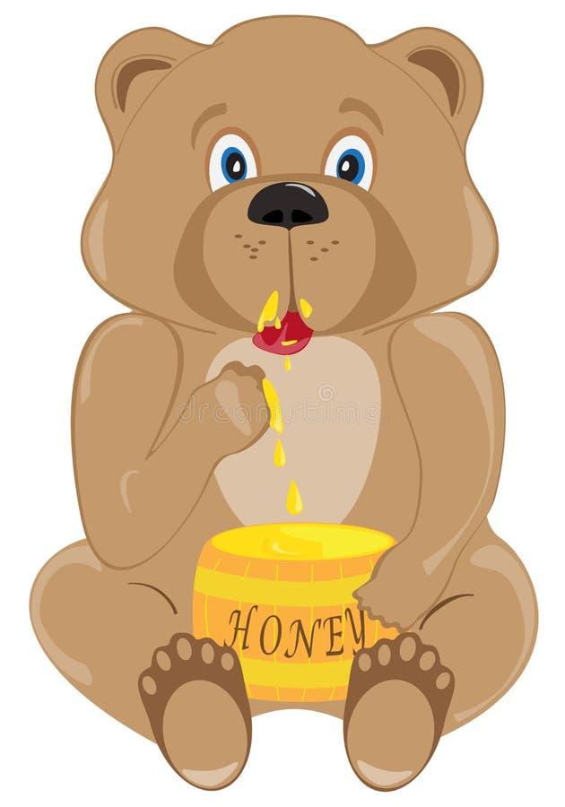Baby Bear Eating Honey royalty free illustration