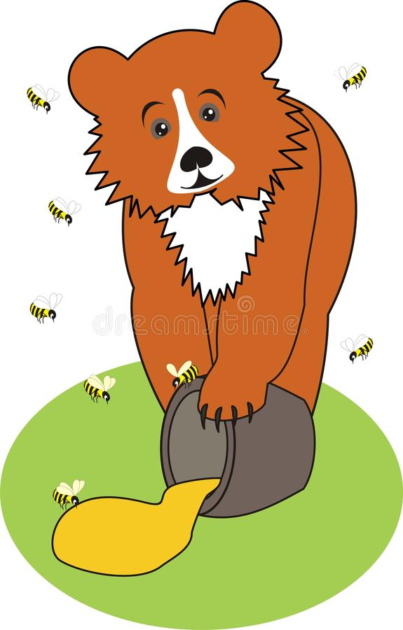 Download Baby Bear  (Grizzly)  With Honey On The Green Gras Stock Vector - Image: 11212361