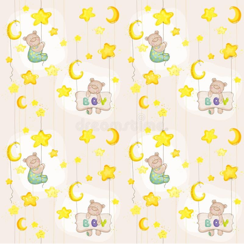 Download Baby Bear Seamless Pattern Stock Vector Illustration Of Birthday
