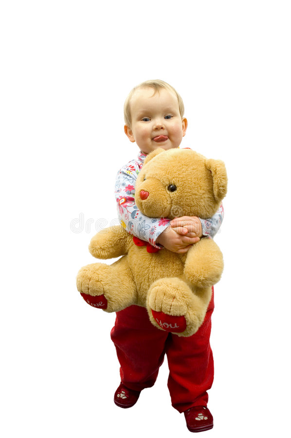 Baby with bears stock photos