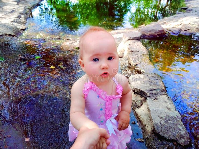 Baby on beautiful background stock photo