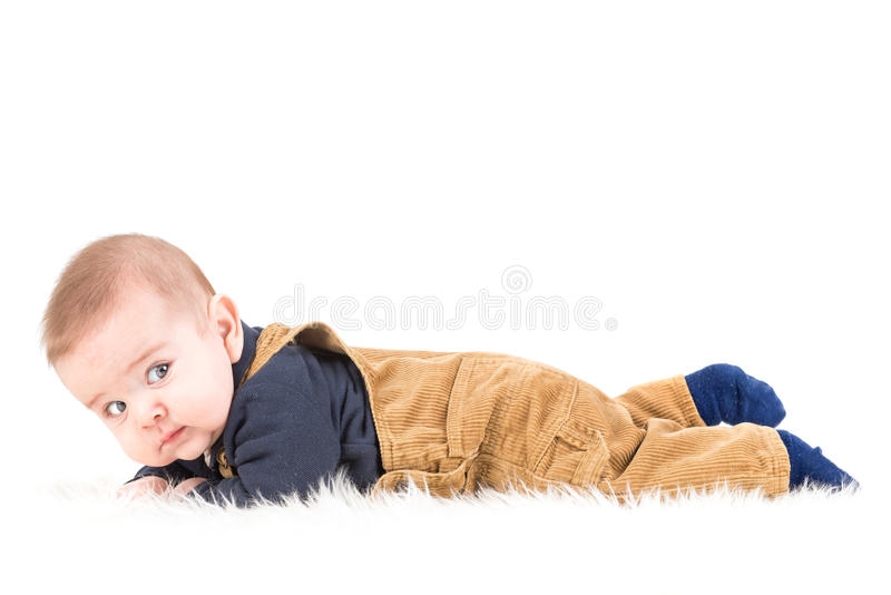 Baby. Beautiful blue eyed baby isolate in white stock images