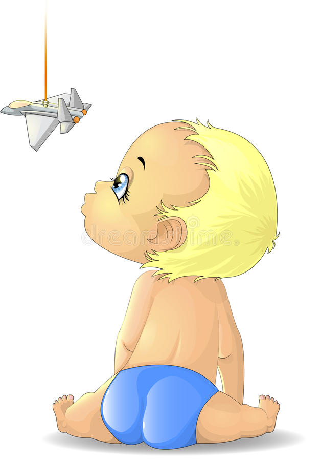 Baby. The beautiful kid drawn on a white background stock illustration
