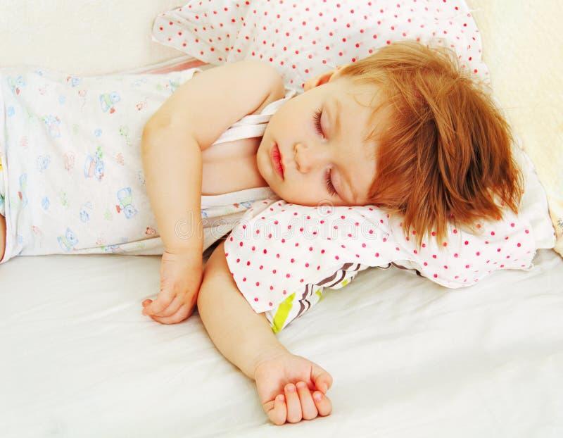 Baby in bed. royalty-vrije stock foto's