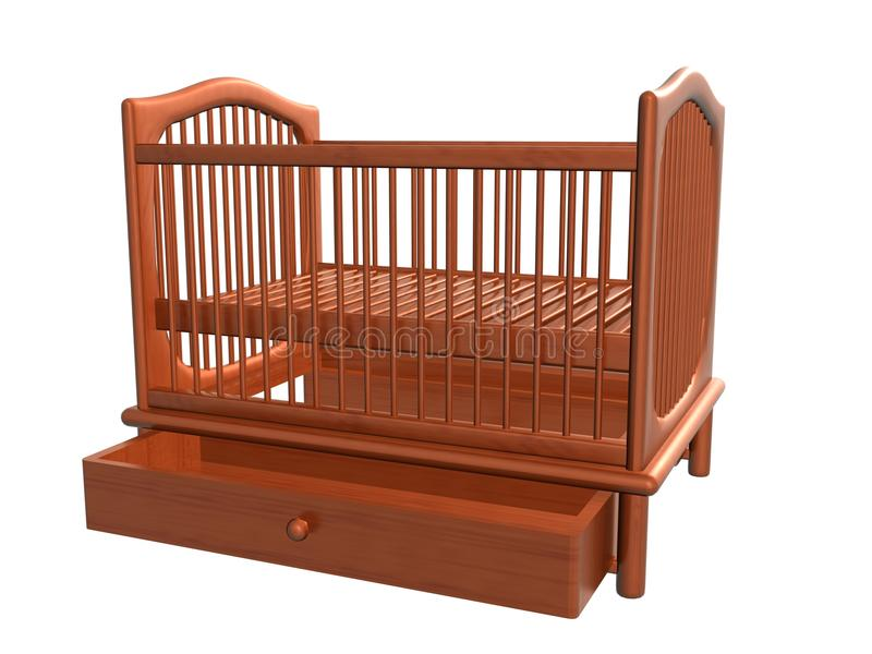 Baby Bed, Drawer Open_Raster. Raster of baby bed, drawer open stock illustration