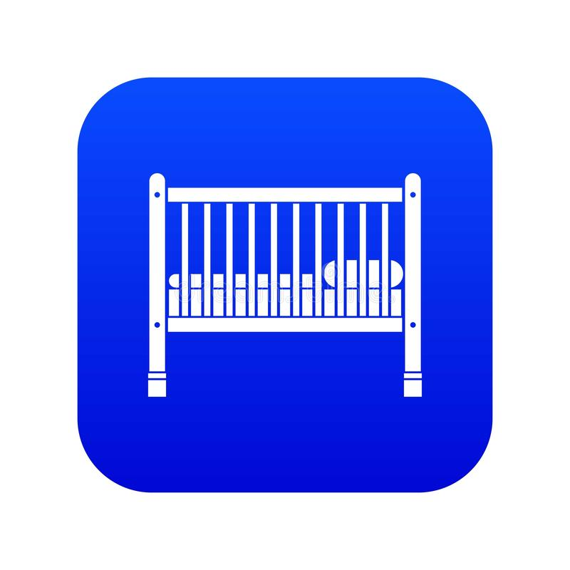 Baby bed icon digital blue stock illustration