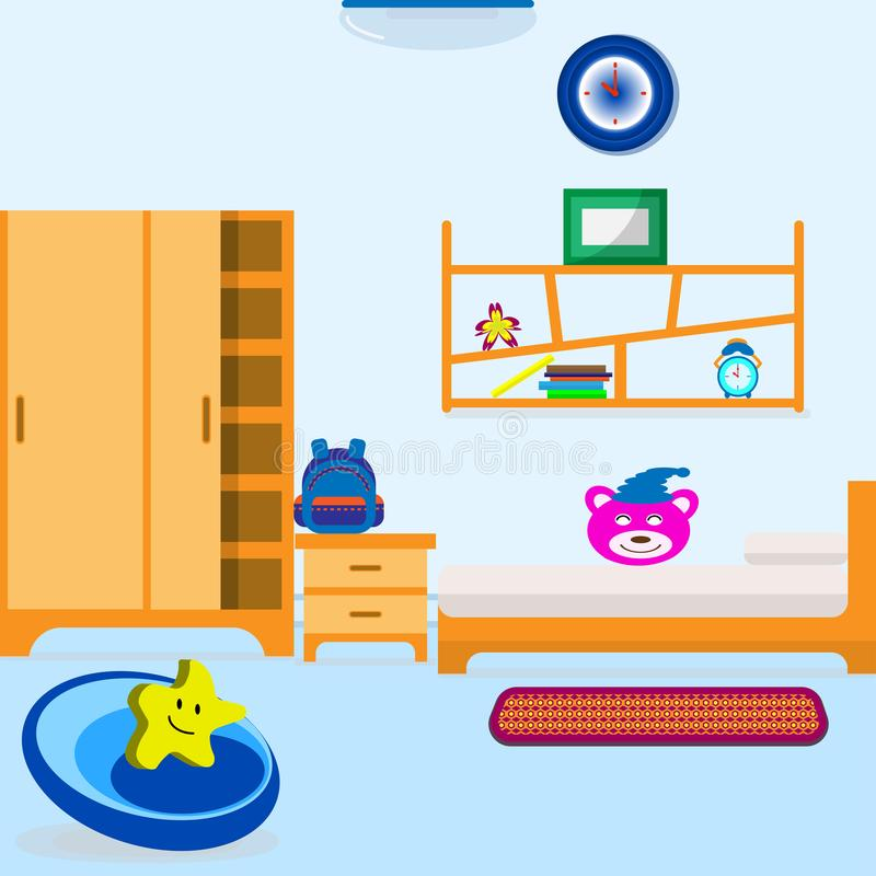 Baby Bed Room living. That have manythings for Children example furniture, dall, clock, light and other royalty free illustration
