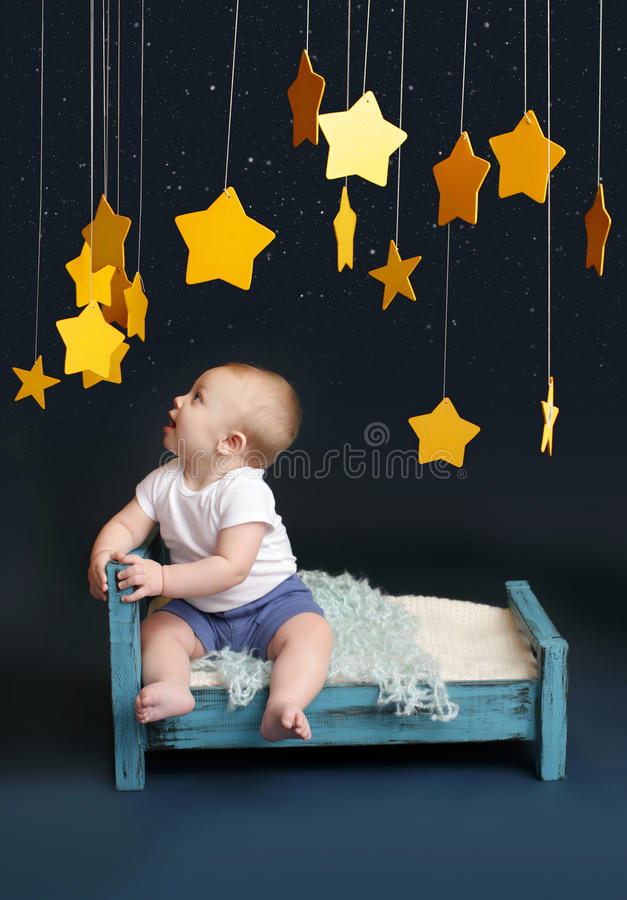 Download Baby Bed Time With Stars And Mobile Stock Image - Image: 41520395
