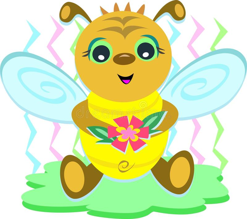 Download Baby Bee with Flower stock illustration. Image of antenna - 18045074