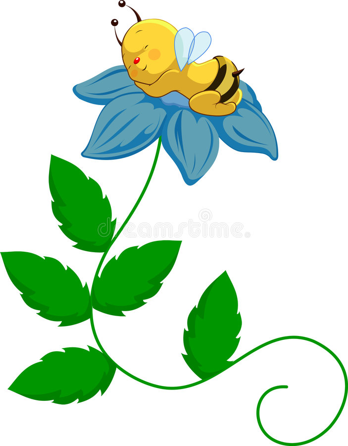 Baby Bee on Flower. Vector baby bee with diaper on blue flower