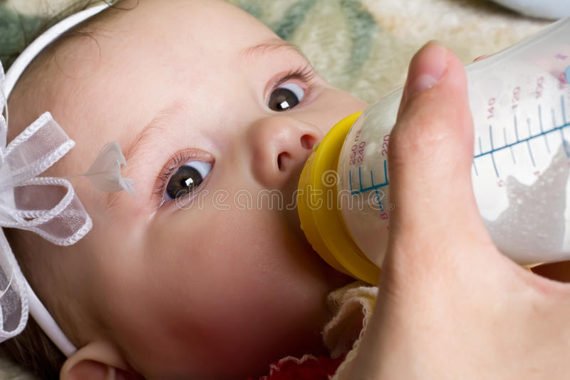Baby being fed baby food royalty free stock photo