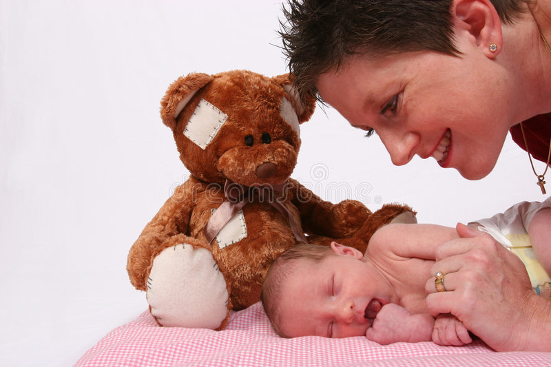 Download Baby Being Watch By Loving Mother Stock Photo - Image of fingers, mother: 514322