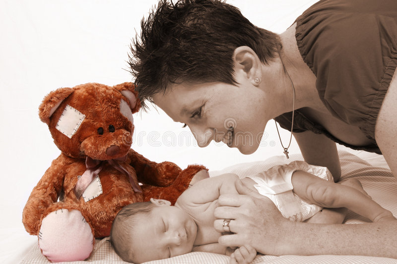 Download Baby Being Watch By Loving Mother Stock Image - Image: 514361