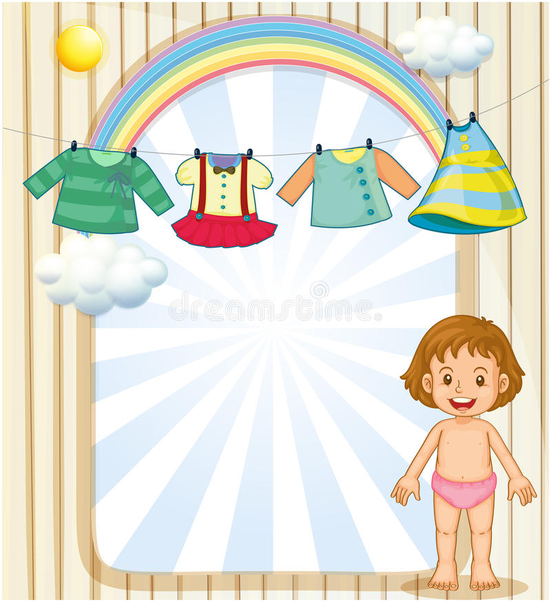 A baby below the hanging clothes. Illustration of a baby below the hanging clothes stock illustration