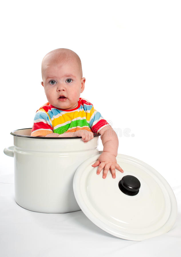 Download Baby In The Big Saucepan With Cover Stock Photo - Image: 23439504