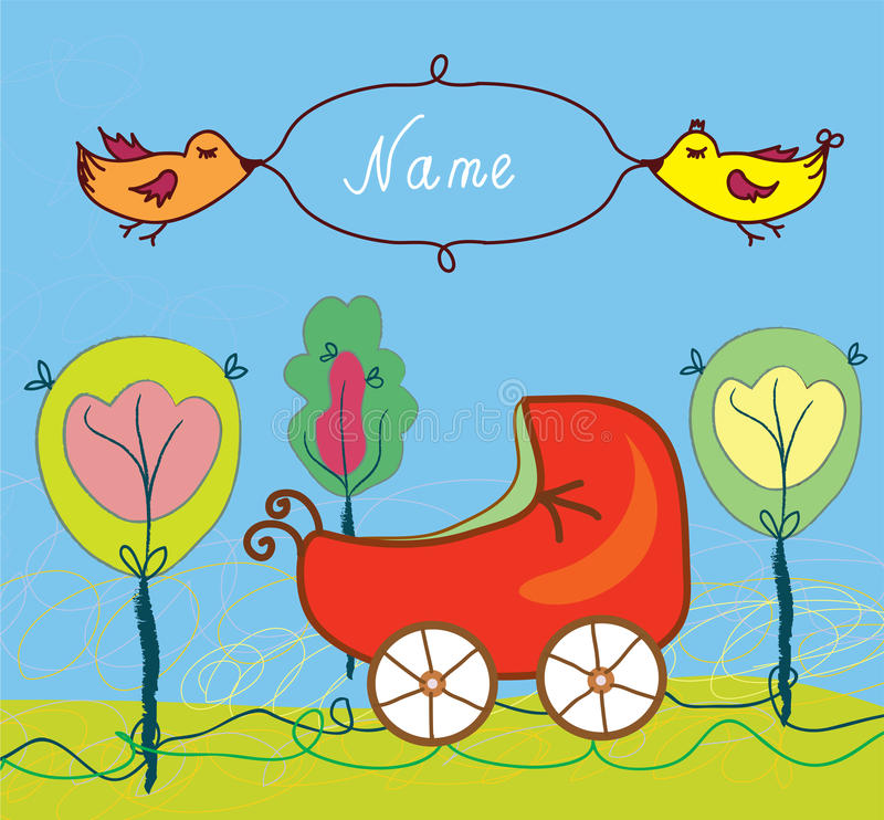 Baby birth card with pram and trees and frame vector illustration
