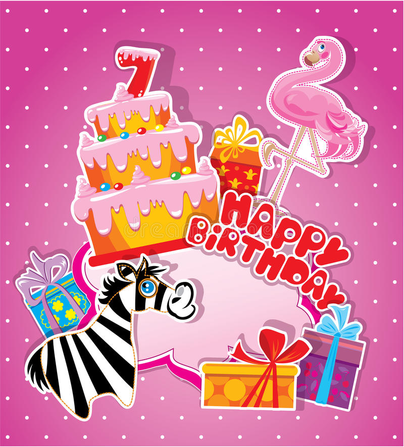 Baby birthday card with flamingo and zebra big cake stock vector download baby birthday card with flamingo and zebra big cake stock vector illustration of bookmarktalkfo Image collections