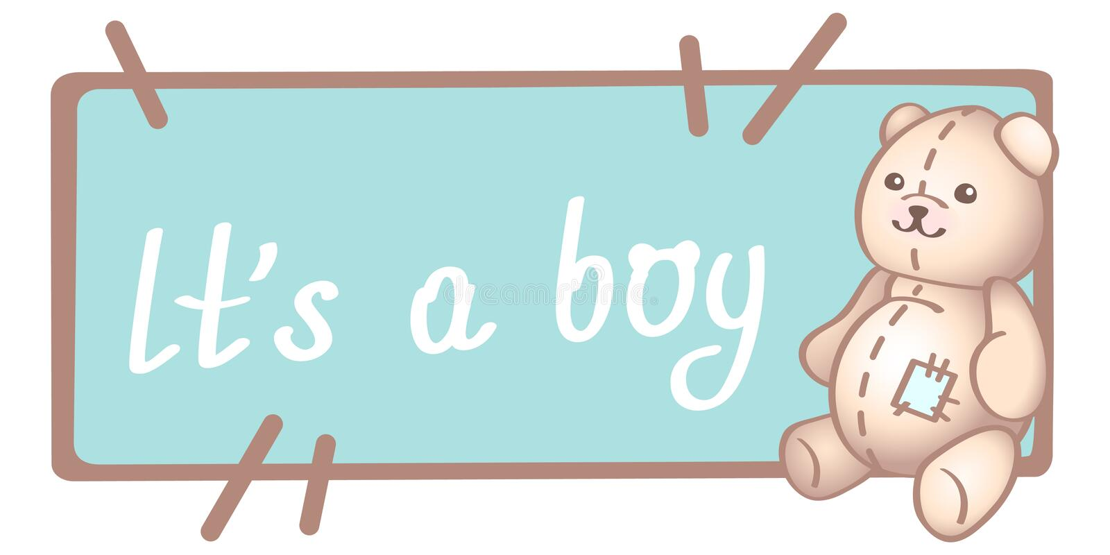 Baby birthday, invitation or greeting card, poster, template. Cute vector illustrations with a new born baby toy. It is a boy card. Baby boy birthday card royalty free illustration