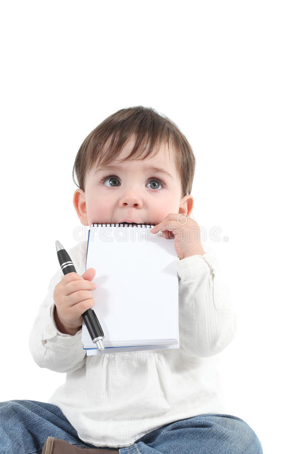 Download Baby Biting A Blank Notebook Stock Photo - Image: 28858666