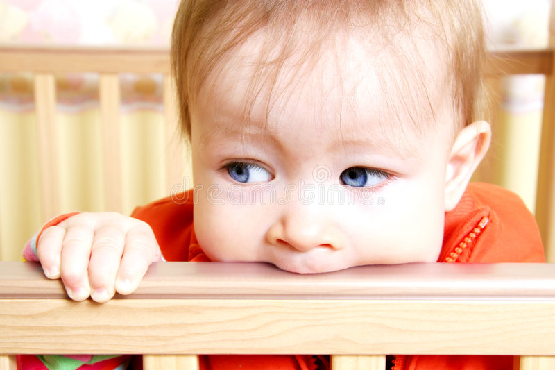 Download Baby In Bitting On Crib Stock Images - Image: 2052724
