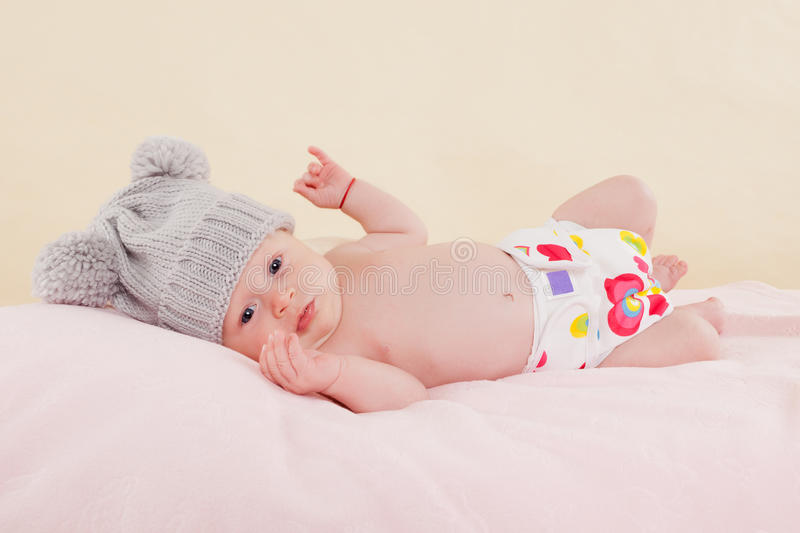 Baby on blanket. royalty free stock photo