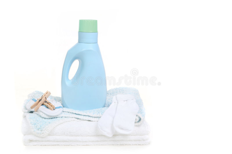 Download Baby Blanket With Socks Clothespins And Detergent Stock Image - Image: 9211905