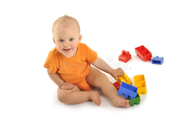 Baby with block royalty free stock photos