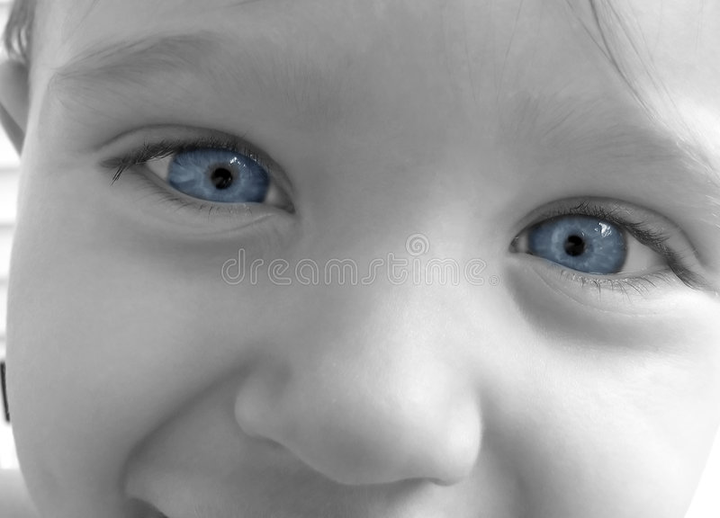 Baby Blue Eyes Close Up in Black and White. A closeup up of a baby / toddlers face in black and white. His eyes are blue royalty free stock image