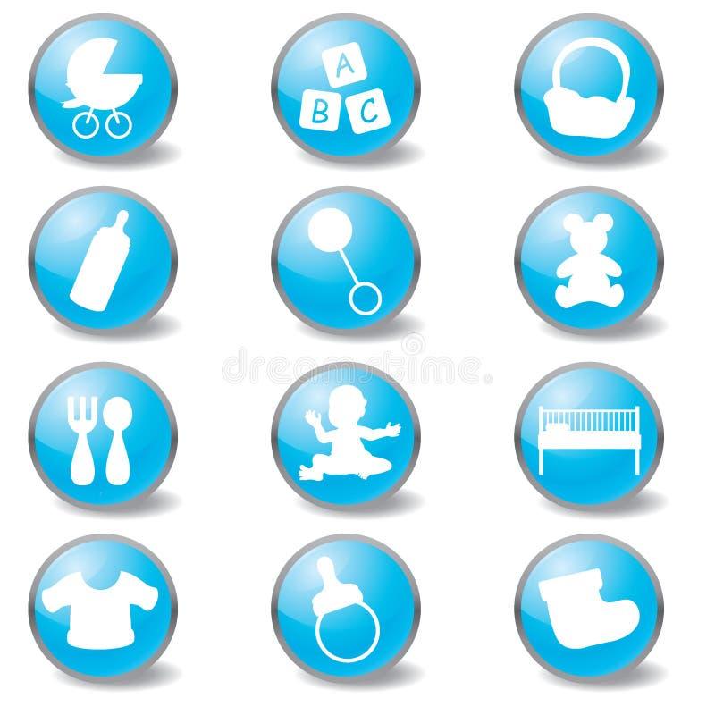 Baby blue icons. For newborn baby, toddler, children theme stock illustration