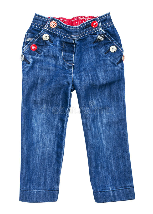 Baby blue jeans with multi-colored buttons royalty free stock photos
