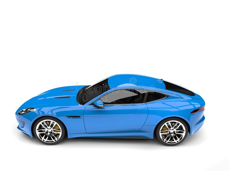 Baby blue modern sports concept car - side view. Isolated on white background stock illustration