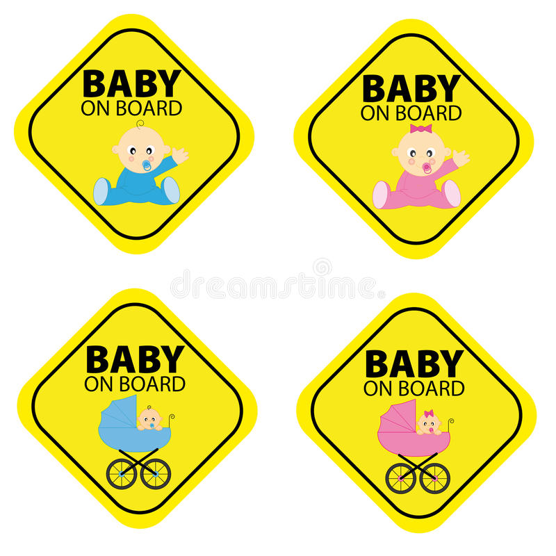 Baby on board. stock illustration
