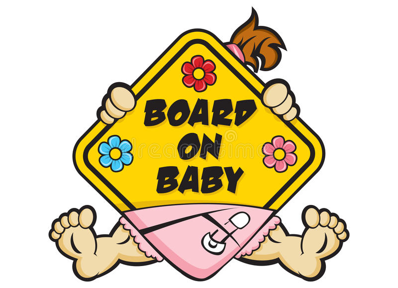 Baby on Board Sign. Variation on the Baby on Board sign, illustrated to play on those words stock illustration