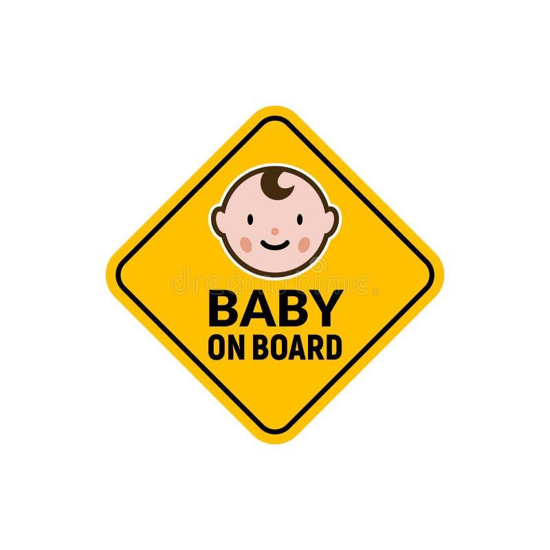 Baby on board sign icon. Child safety sticker warning emblem. Baby safety design illustration stock photo