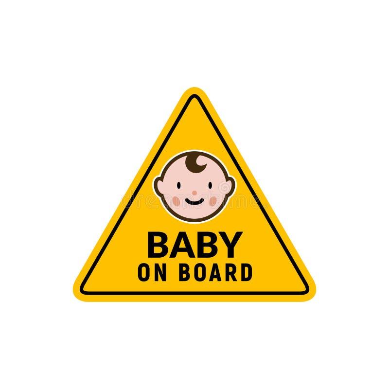 Baby on board sign icon. Child safety sticker warning emblem. Baby safety design illustration.  stock illustration