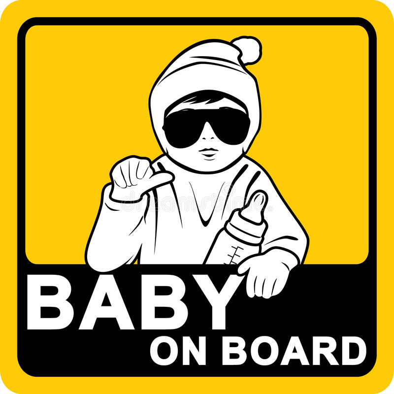 Baby on board. Sticker royalty free stock photos