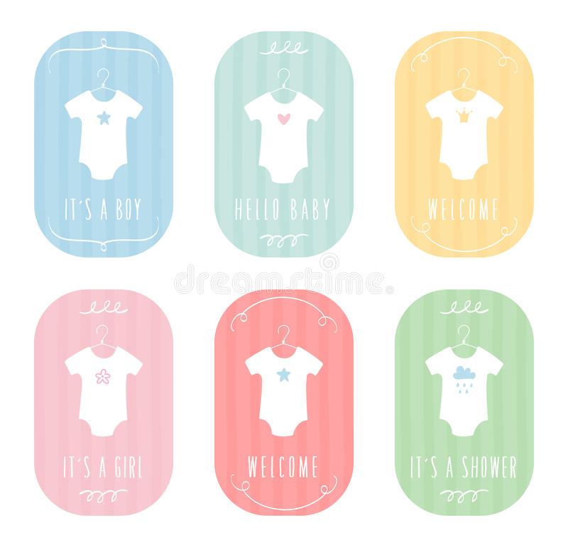 Baby Body Suits Clothes On Hangers. Pastel Baby Announcements And ...