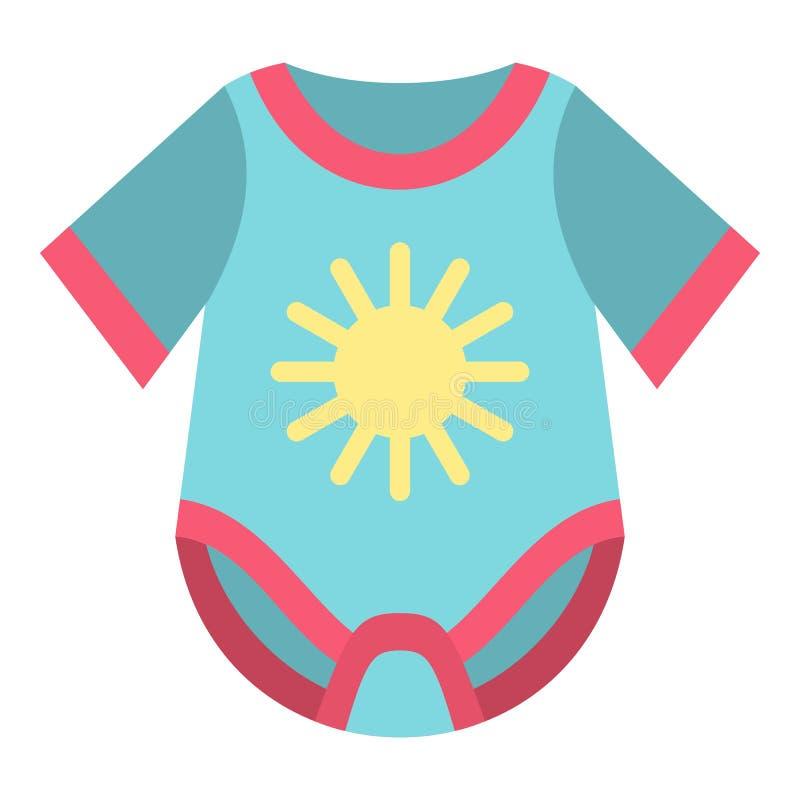 Baby bodysuit icon, flat style. Baby bodysuit icon. Flat illustration of baby bodysuit vector icon for web design royalty free illustration
