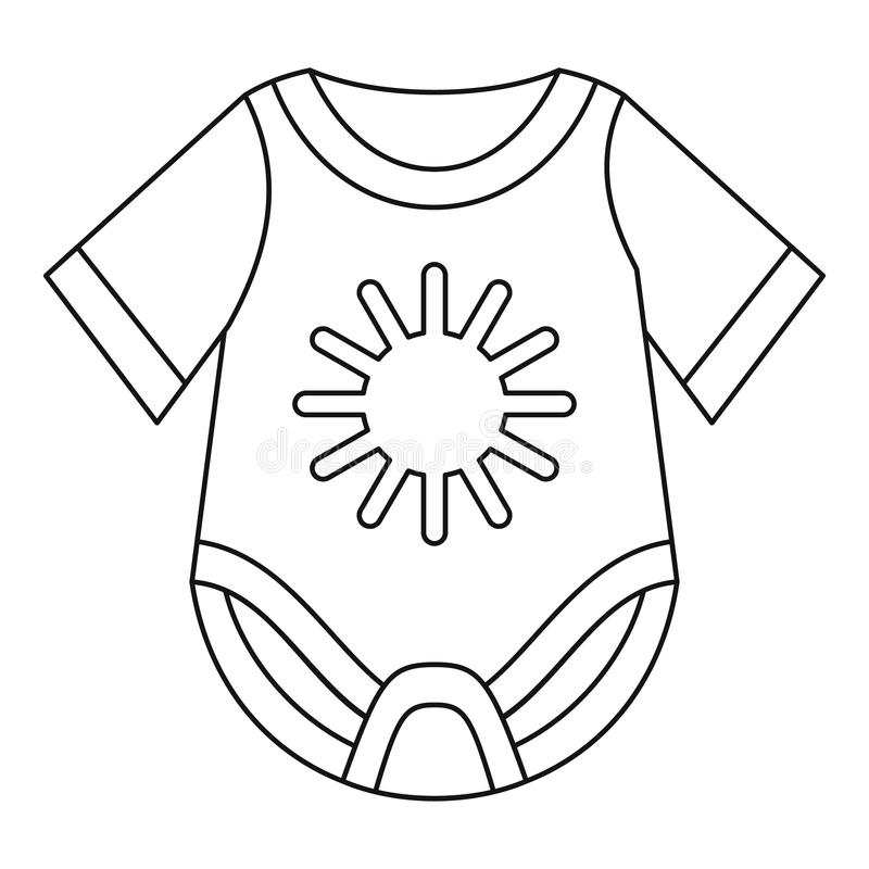 Baby bodysuit icon, outline style. Baby bodysuit icon in outline style on a white background illustration vector illustration