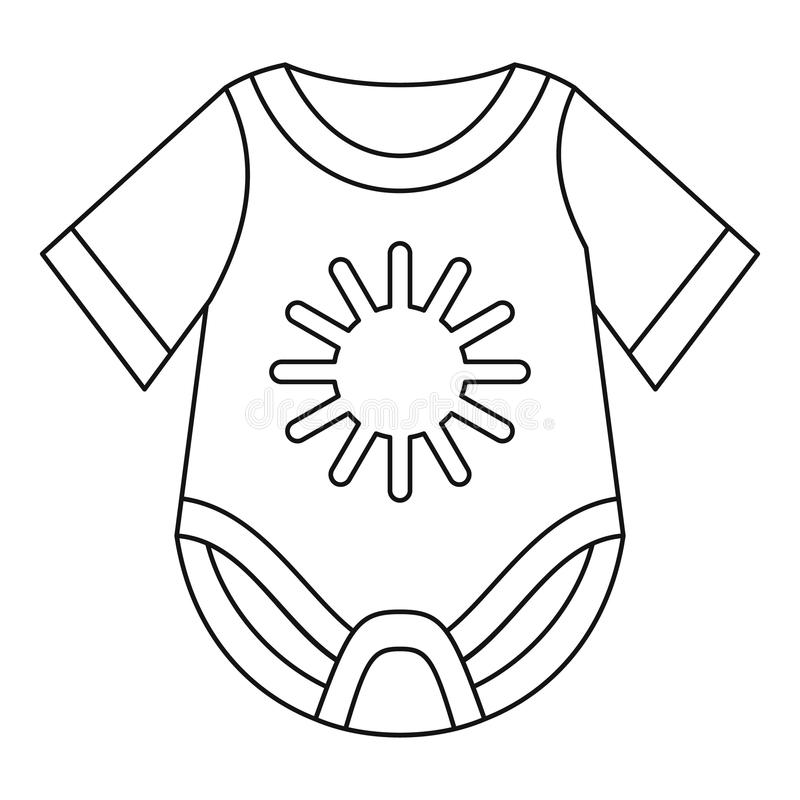 Baby bodysuit icon, outline style. Baby bodysuit icon in outline style on a white background vector illustration royalty free illustration